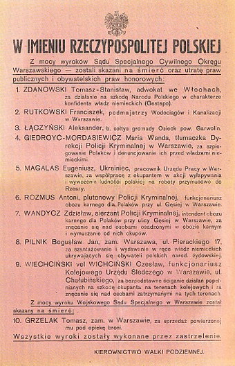 Polish resistance poster announcing the execution of several Polish collaborators and blackmailers (szmalcowniks), September 1943 Plakat Kierownictwa Walki Podziemnej informujacy o wykonanych wyrokach smierci wrzesien 1943.jpg