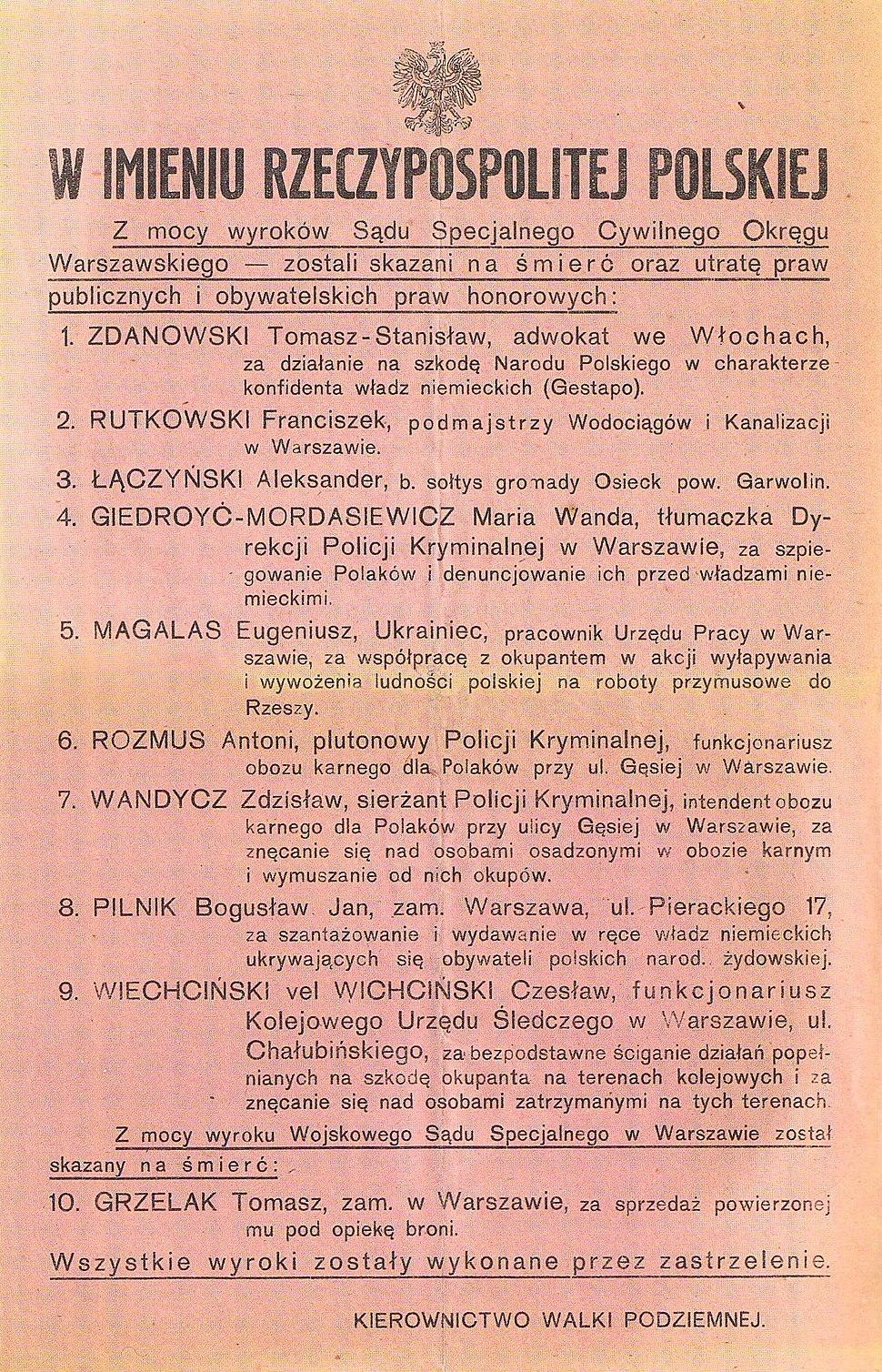 Plakat Kierownictwa Walki Podziemnej informujący o wykonanych wyrokach śmierci wrzesień 1943