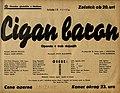 Plakat za predstavo Cigan baron v Narodnem gledališču v Mariboru 13. aprila 1940.jpg