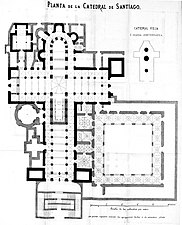 Planta de la Catedral de Santiago. Descripcion histórico-artística-arqueológica de la Catedral de Santiago. 1866.jpg