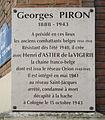 Plaque Georges Piron, Fondation de la France Libre, Paris 13.jpg