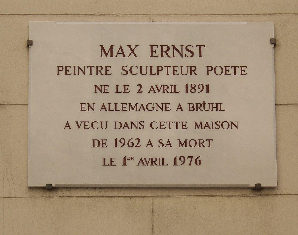 Sculpteur Peintre Et Poete Francais file:plaque max ernst, 19 rue de lille, paris 7