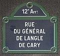 Plaque rue Général Langle Cary Paris 1.jpg
