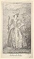 Plate 46- Habit de Folie- a woman in a ballet pose, wearing a bonnet and holding a marotte in her right hand, from 'New designs for costumes' (Nouveaux desseins d'habillements à l'usage des balets operas et comedies) MET DP832430.jpg