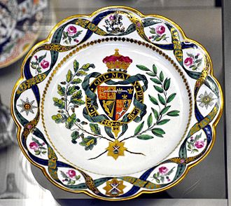 Royal Worcester - Soft-paste armorial porcelain plate with the coat of arms of the Duke of Clarence, future William IV, 1789, Flight factory, Diameter: 9.7 inches