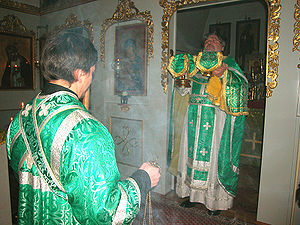 Entrance (liturgical) - Orthodox subdeacon and priest making the Great Entrance during the Divine Liturgy.
