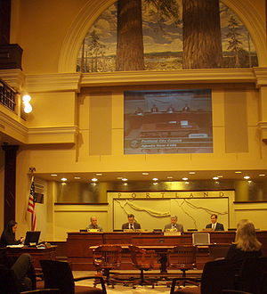 Government of Portland, Oregon - Portland City Council in session in April 2008. From left, Randy Leonard, Sam Adams (then city commissioner), then-Mayor Tom Potter, and Dan Saltzman. Of those shown here, Saltzman is the only one still in office as of 2016.