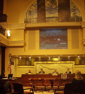 Government of Portland, Oregon - Portland City Council in session in April 2008. From left, Randy Leonard, Sam Adams (then city commissioner), then-Mayor Tom Potter, and Dan Saltzman.