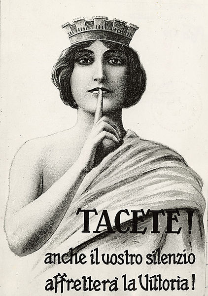 File:Poster con disegno di donna, scritta- Tacete Anche il vostro silenzio affretterà la Vittoria.jpg