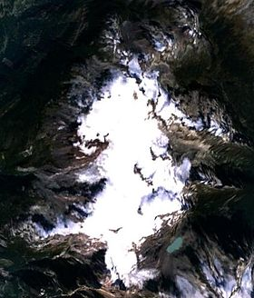 Image satellite du champ de glace Powder Mountain.