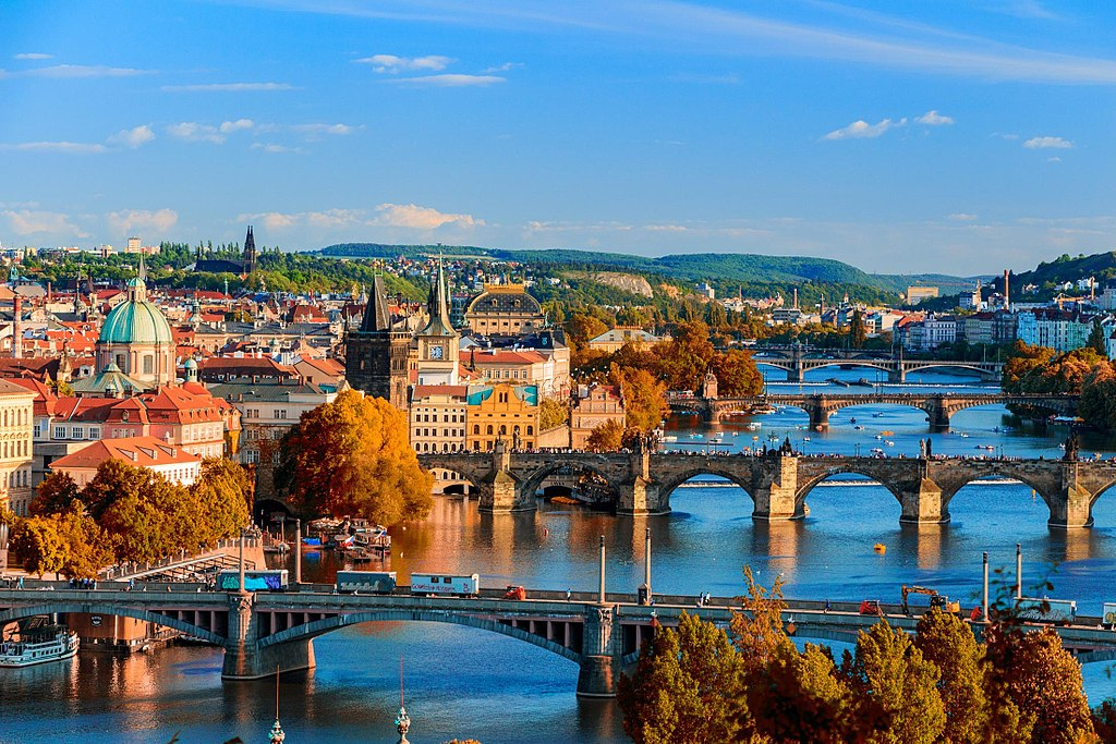 Prague skyline view