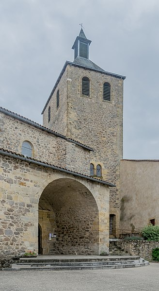 Bell tower of the present church in Peyrusse-le-Roc, Aveyron, France