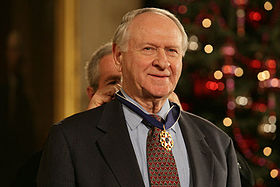 President Bush presents William Safire the 2006 President Medal of Freedom.jpg