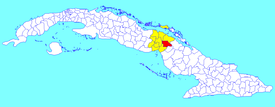 Primero de Enero municipality (red) within  Ciego de Ávila Province (yellow) and Cuba