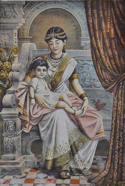 Bestand:Prince Siddhartha with his maternal aunt Queen Mahaprajapati Gotami.JPG