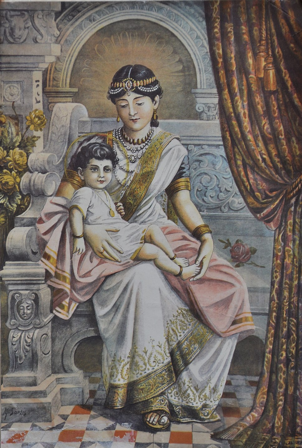 Prince Siddhartha with his maternal aunt Queen Mahaprajapati Gotami