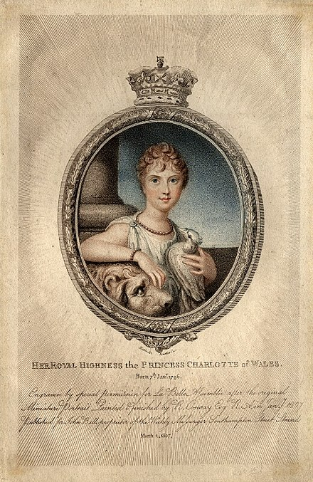 Charlotte in 1807, aged 11 Princess Charlotte Augusta of Wales 1807.jpg