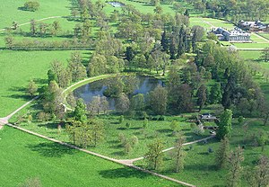 Funeral of Diana, Princess of Wales - Aerial view of Althorp. Diana is buried on the small island in the middle of the ornamental Round Oval lake