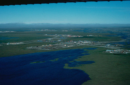 Aerial view of infrastructure at the Prudhoe Bay Oil Field Prudhoe Bay aerial FWS.jpg