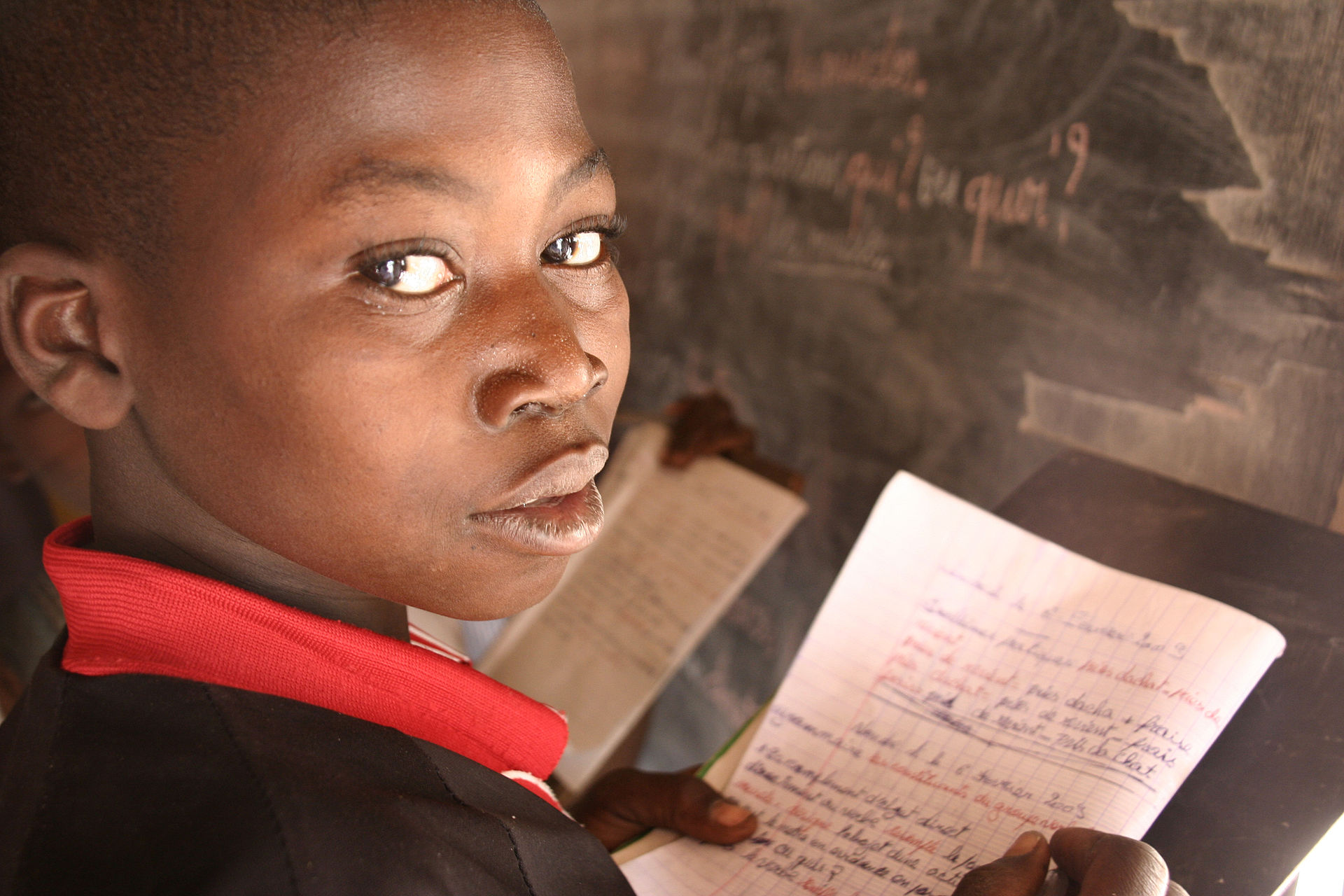 Pupil at Beboy Deux bush school, near Paoua, Central African Republic (8380273392).jpg