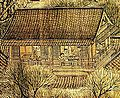 "An expert from the painting ""Along the River During Qingming Festival"" depicting a simple building with a triangular roof. It appears that the teahouse is at the top floor of a multi-floor building, however the rest of the building is not shown."