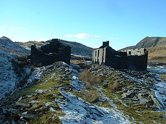 Rhosydd Quarry - The derelict barracks. Behind them is the level 9 adit.