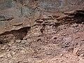 Quartz tholeiite basalt lava flows (flow B over flow A, Two Harbors Basalts, North Shore Volcanic Series, Mesoproterozoic, 1097-1098 Ma; Burlington Bay, Two Harbors, Minnesota, USA) 6 (22459753431).jpg