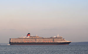 MS Queen Elizabeth - Queen Elizabeth outbound from Southampton on her maiden voyage, 2010
