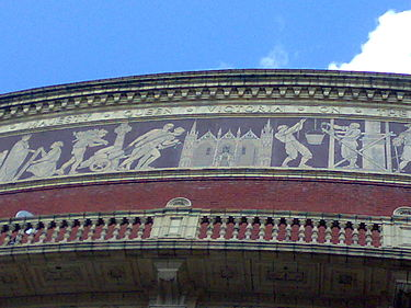 A section of the Triumph of Arts and Sciences at the Royal Albert Hall (1867-1871), depicting Peterborough Cathedral RAH frieze, Peterborough Cathedral.jpg