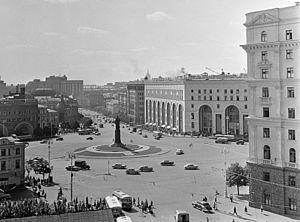 Lubyanka Square - Dzerzhinsky Square in 1966, with the statue of Felix Dzerzhinsky