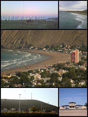 Rada Tilly - Top left:A board entrance of Rada Tilly in Armada Argentina Avenue, Top right:Playa Bonita (Bonita Beach), Center:Balneario Rada Tilly (Rada Tilly Spa) in Kae Lei area, Bottom left:Parque Ceolieo Rada Tilly (Rada Tilly Zeolite Park), Bottom right:A entrance in La Herradura Beach (Playa La Herradura)