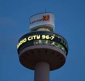 Radio City (Liverpool) - Radio City studios tower by night