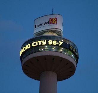 Radio City (Liverpool) - Radio City studios tower by night