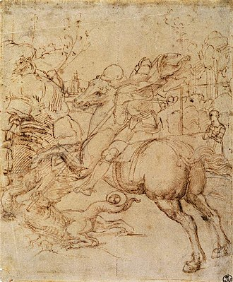 St. George (Raphael, Louvre) - Raphael's cartoon for St George and the Dragon