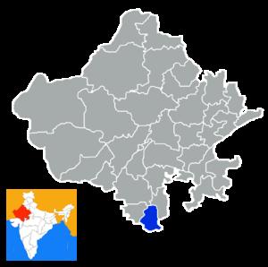 Banswara district - Location in Rajasthan