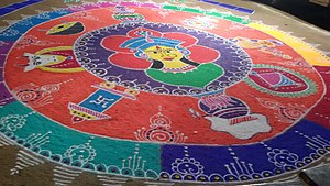 Rangoli - It is rangoli made in front of a house