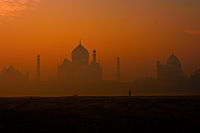 A rear view of Taj Mahal.Author: Narender