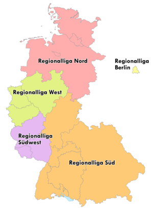 1972–73 Regionalliga - Map of the five German Regionalligas from 1963 to 1974