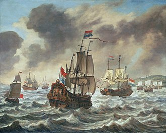 Battle of the Downs - Before the Battle of the Downs by Reinier Nooms, circa 1639, depicting the Dutch blockade off the English coast, the vessel shown is the Aemilia, Tromp's flagship.