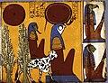 Relevé à l'aquarelle de la tombe de Senedjem, Musée des Beaux-Arts de Béziers.jpg