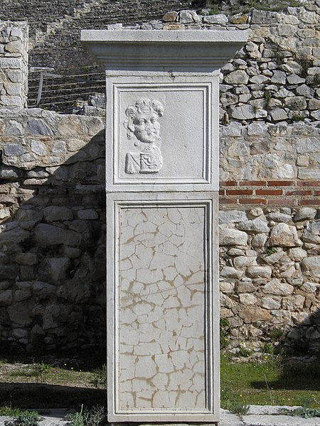 File:Relief figure, Ancient Theatre, built by Philip II in the 4th century BC and later reconstructed by the Romans, Philippi (7272243170).jpg
