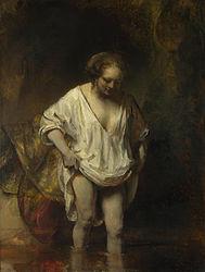 Рембрандт: A Woman bathing in a Stream (Hendrickje Stoffels?)