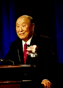 Sun Myung Moon bei einer Ansprache in Las Vegas, USA am 4. April 2010