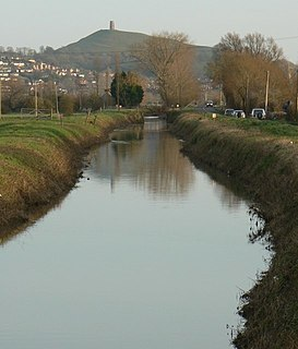 River Brue river in Somerset, United Kingdom