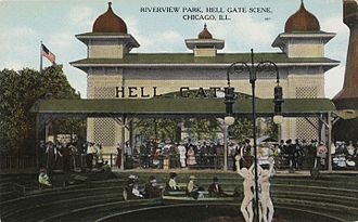 Riverview Park (Chicago) - Riverview Park, Hell Gate scene, Chicago, Illinois, circa 1907-1914