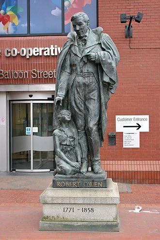 Sociology of Manchester - Robert Owen statue outside the Co-operative Group Headquarters in Manchester.