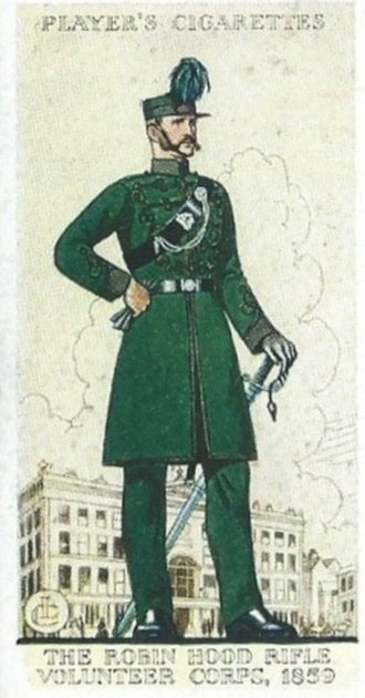 Rifleman - Uniform of the Robin Hood Rifles depicted on a 1939 cigarette card