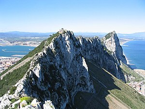 View north along the spine of the Rock of Gibraltar, within the Nature Reserve looking towards Spain.