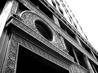 Warehouse District, Cleveland - The decorative iron facade of the Rockefeller Building (Cleveland) on Superior Avenue
