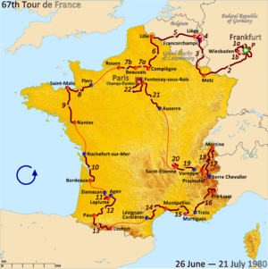1980 Tour de France - Route of the 1980 Tour de France